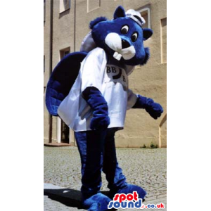 Blue Beaver Plush Mascot Wearing A White T-Shirt And Cap -