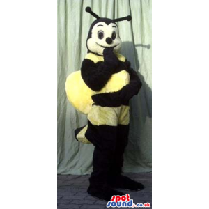 Funny Black And Yellow Bee Plush Mascot With Big Wings - Custom