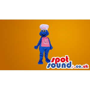 Blue Hairy Plush Mascot Wearing A Chef Hat And Apron With Logo
