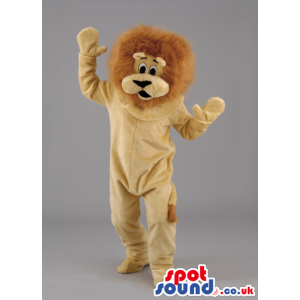 Cuddly soft lion mascot with fluffy brown mane and black eyes -
