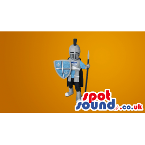 Amazing Medieval Warrior Mascot With Shield And Armour - Custom