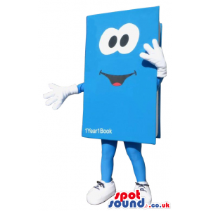 Funny Big Blue Book With Test And Huge Eyes - Custom Mascots