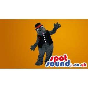 Grey Seal Plush Mascot Wearing A Vest And A Hat - Custom Mascots