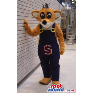 Brown Fox Plush Mascot Wearing Blue Overalls With A Letter -
