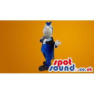 Grey And Blue Shark Plush Mascot Wearing Magician Clothes -