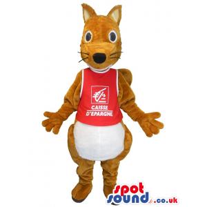 Brown And White Kangaroo Plush Mascot With Red T-Shirt - Custom
