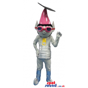 Space Character Mascot In Grey With A Pink Pointy Hat - Custom