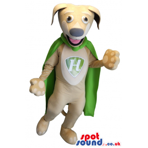 Beige Super Hero Dog With Green Cape And A Letter - Custom