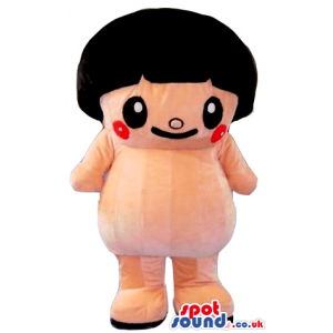 Funny Cartoon Girl Mascot With Black Hair And Red Cheeks -