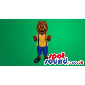 Brown Dog Plush Mascot Wearing A Yellow Shirt And Blue Shorts -
