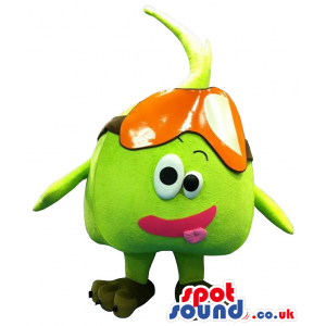 Cute Green Pea Vegetable Mascot With Funny Face - Custom Mascots