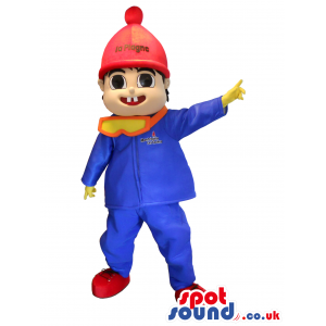 Boy Mascot Wearing A Blue Track Suit And A Red Hat - Custom