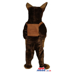 Brown Wolf Plush Mascot With Back Pack - Custom Mascots