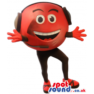 Red Ball Mascot With Black Head Phones And Microphone - Custom
