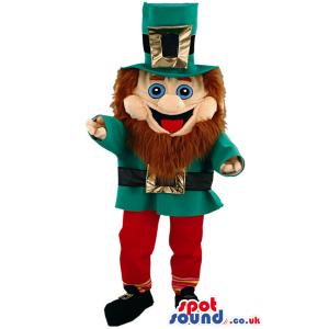 Bearded irishman mascot wirh green hat, coat and red trousers -