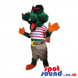 Green Hippopotamus Dressed As A Pirate - Custom Mascots