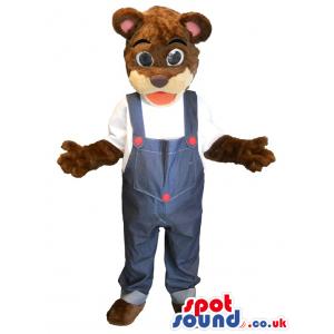 Brown Bear Plush Mascot Wearing Overalls - Custom Mascots
