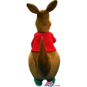 Brown Kangaroo Plush Mascot With A Red T-Shirt - Custom Mascots