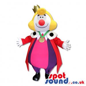 Super Colourful Clown Mascot With Red Big Nose - Custom Mascots