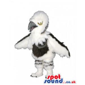 White Hairy Bird Mascot With Black Tummy - Custom Mascots