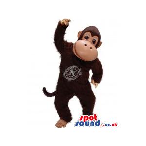 Dark Brown Monkey Plush Mascot With Logo - Custom Mascots