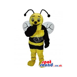 Funny Bee Plush Mascot With White Wings - Custom Mascots