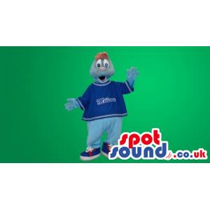 Blue And Grey Seal Plush Mascot With Blue Shirt - Custom Mascots