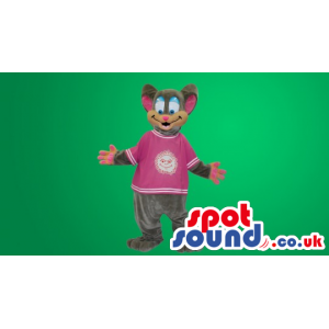 Funny Grey Mouse With Pink Shirt With Logo - Custom Mascots