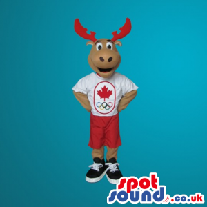 Brown Moose Plush Mascot With Sports Clothes - Custom Mascots