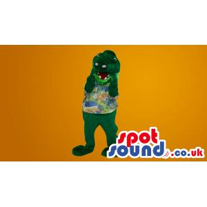 Green Hippopotamus Plush Mascot With Hawaiian Shirt - Custom