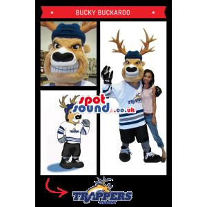Amazing Moose Plush Mascot With Ice-Hockey Shirt - Custom