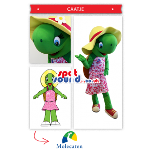 Green Frog Girl Mascot With A Dress And Hat - Custom Mascots
