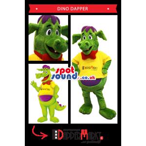Green Dragon Plush Mascot Wearing A Yellow T-Shirt - Custom