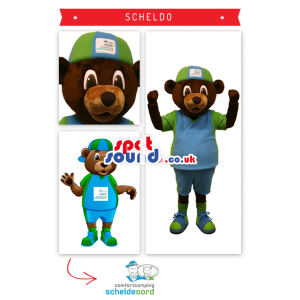 Brown Teddy Bear Mascot With Green And Blue Cap And Shirt -