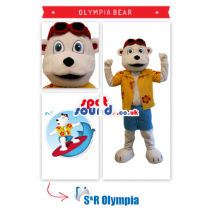 White Bear Plush Mascot Wearing Surfer Clothes - Custom Mascots
