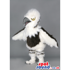 Fluffy menacing white and black eagle with silver beak - Custom