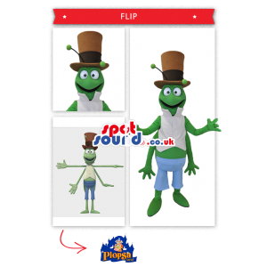 Green Grasshopper Mascot Wearing A Brown Top Hat - Custom