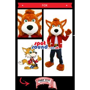Brown Fox Plush Mascot Wearing Street Clothes And Belt - Custom