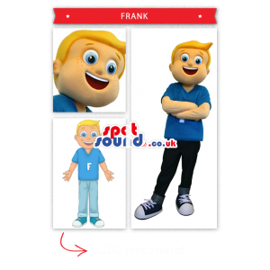 Blond Boy Mascot Wearing Blue Clothes And A Letter - Custom