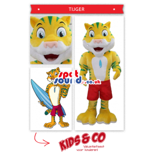 Yellow And Blue Tiger Mascot With A Surfer'S Look - Custom