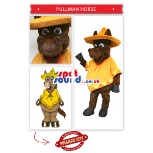 Brown Horse Mascot Wearing Mexican Poncho And Hat - Custom