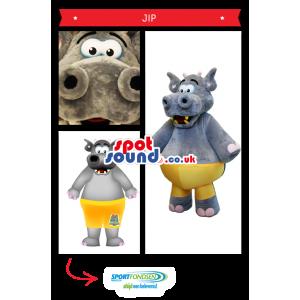 Grey Hippopotamus Plush Mascot Wearing Yellow Shorts - Custom