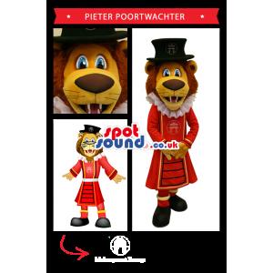 Lion Mascot Wearing Red Beefeater Uniform - Custom Mascots