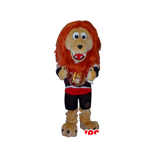 Beige Lion Plush Mascot With Red Hair Wearing Sports Shirt -