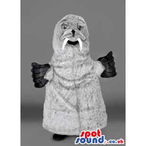 Grey seal mascot with white fangs and black flippers - Custom