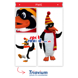 Penguin Plush Mascot Wearing A Winter Scarf And Hat - Custom
