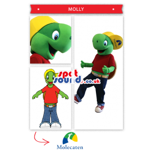 Green Frog Plush Mascot With A Red T-Shirt And Yellow Cap -