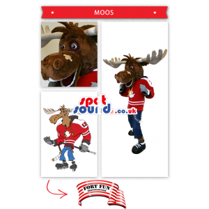 Moose Plush Mascot Wearing Ice-Hockey Gear - Custom Mascots