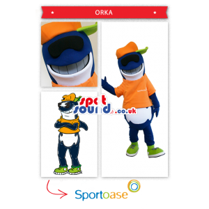 Blue Dolphin Mascot Wearing An Orange Cap And T-Shirt - Custom