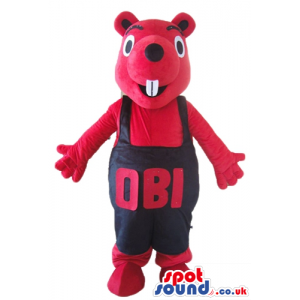 Red squirrel mascot with big black eyes and large teeth in a